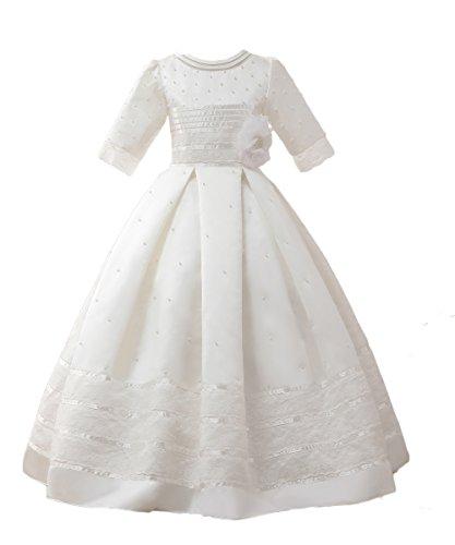 TBdresses Mädchen erste Kommunion Kleid halbe Ärmel Spitze Blumenmädchen Kleid für Hochzeiten (2, Weiß)