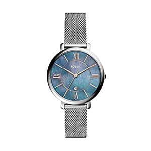 Fossil Damen Analog Quarz Uhr mit Edelstahl Armband ES4322