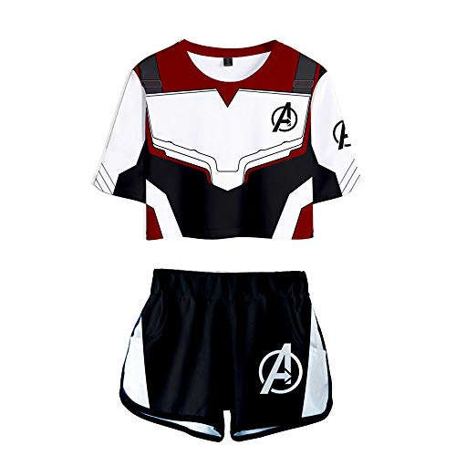 ANLW Avengers Endgame Woman es Tee Shirt Top,3D Printed Loose Short Sleeve Shorts Suit ()
