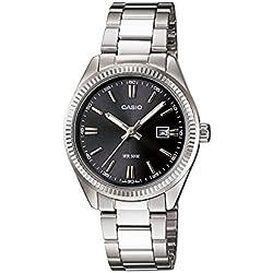 Casio - LTP-1302D-1A1 - Classic - Montre Femme - Quartz Analogique - Cadran Noir - Bracelet Acier Gris
