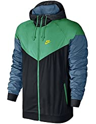Nike M Nsw Wr Jkt Chaqueta, Hombre, Negro (Black / Stadium Green / Electrolime), XL