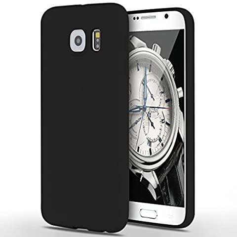 Case for Samsung Galaxy S6, Yokata Ultra Thin Slim Lightweight Matte Soft Silicone Gel TPU Cover Trendy Candy Colour Back Bumper Rubber Shockproof Non-slip Protective Case for Samsung Galaxy S6 - Black