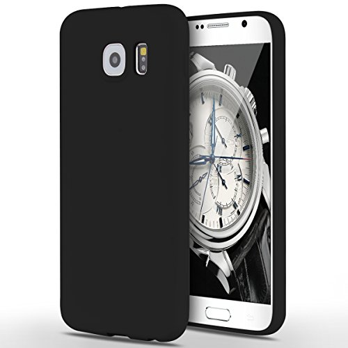 Funda Samsung Galaxy S6, Yokata Silicona TPU Pluma Ultra Delgado Ligero Elegante Suave Mate Carcasa Trasera Fantasía Caprichoso Kawaii Adorable Diseño Flexible Case Bumper Resistente a los Arañazos Anti Choque Anti-deslizante Soft Protectora Cover - Candy Negro