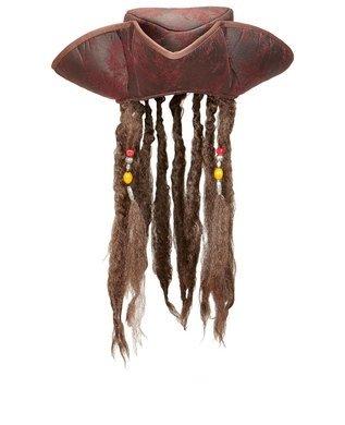Piratenhut mit Haaren - Dreispitz braun Pirat Seeräuber Hut mit - Jack Sparrow Piratenhut