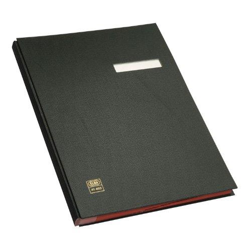 ELBA 400001002 Unterschriftenmappe 20 Fächer aus Karton mit PVC veredelt mit rotem Löschkarton verstärkte Wendetaben schwarz