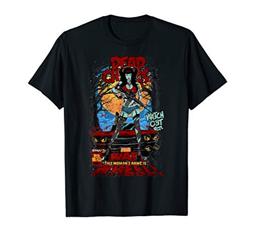 ROCKSTAR Horror Comic Zombie Sexy Frau - Gewehr & Rotem Auto T-Shirt