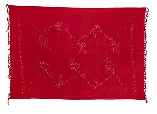 Riesen Auswahl - Sarong Pareo Wickelrock Strandtuch Tuch Wickeltuch Handtuch - Blickdicht - Handbestickt inkl. Schnalle in runder Form Bunte Stickerei Rot