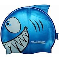 Aqua Speed® Shark Niños Gorro de baño tiburón Gorro (100% silicona, Super Stretch, perfecto Fit) Shark / blau /01