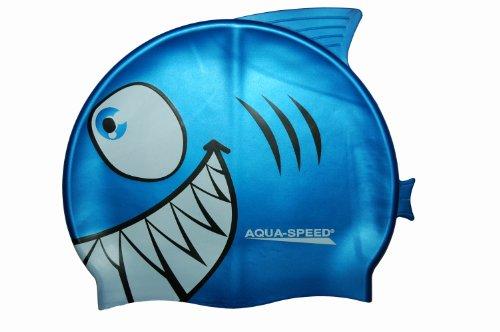 Aqua speed shark - cuffia da nuoto per bambino, 100% silicone, elastica e adattabile, motivo squalo
