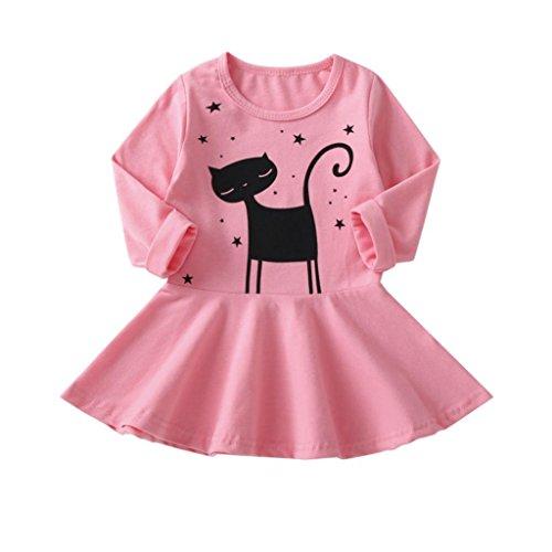 Kleid Mädchen, HUIHUI Festlich Prinzessin Party Kleid Mode Katze Drucken Lange Ärmel Rock Casual Frühling Sommer Herbst Bekleidung 0-5 Jahr (120 (3-4Jahr), Rosa)