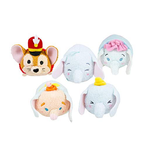 Tsum Tsum Disney Dumbo Pack de 5 Peluches 9 cm - Dumbo, Baby Dumbo, Clown Dumbo, Señora Jumbo, Timothy Mouse