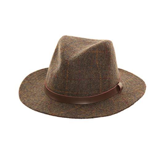 Adonis & Grace Unisex Luxus Tweed Fedora Hut Braun Grün Fashion Hat Gr. Small, braun