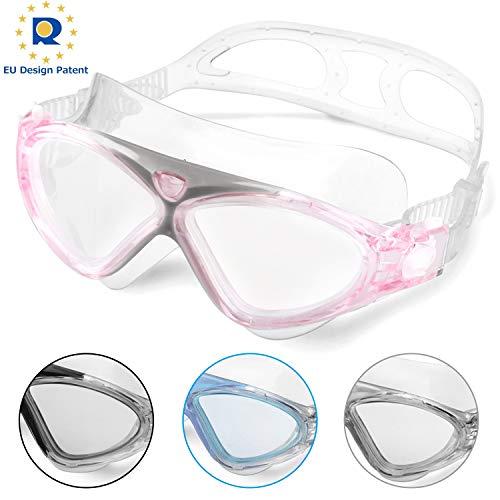 Schwimmbrille Erwachsene Anti Fog Ohne Leakage deutlich Anblick UV Schutz 180°Weitsicht Einfach zu anpassen,Professional Super komfortabeler Schwimmbrille für Herren und Damen(Pink/Clear Lens)