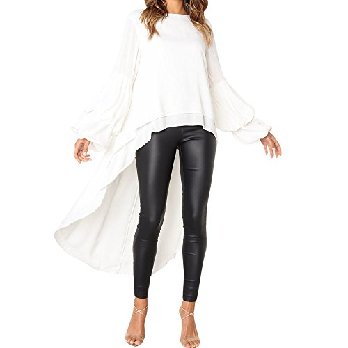 Zegeey Damen Langarmshirts T-Shirt Tops Pullover Patchwork Farbblock Asymmetrischer V-Ausschnitt Bluse Hemd Sweatshirt Oberteil Basic Shirt Rundhals Stretch LäSsige ()