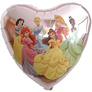 paduTec Folienballon Ballon Herzballon - Herz Disney Prinzessinnen - Geburtstag Hochzeit Deko - geeignet zur befüllung mit Helium Gas oder Luft - Europäische Premiumqualität