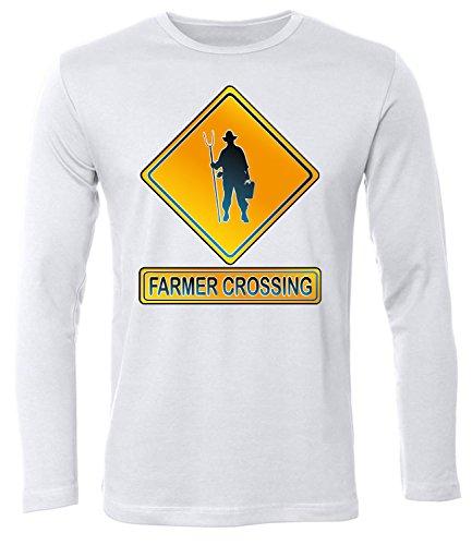 FARMER CROSSING Uomo manica Lunga Maglietta Taglia S to XXL vari colori bianco / nero