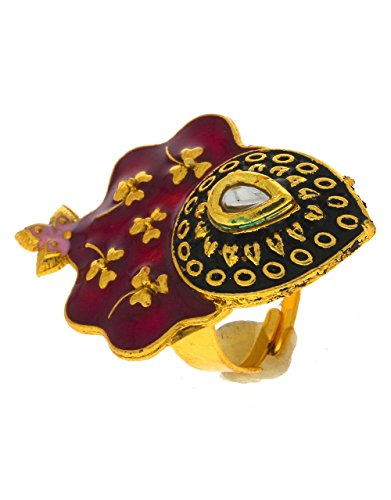 Anuradha Art Pink Colour Classy Designer Styled With Stone & Kundan Finger Ring For Women/Girls  available at amazon for Rs.175