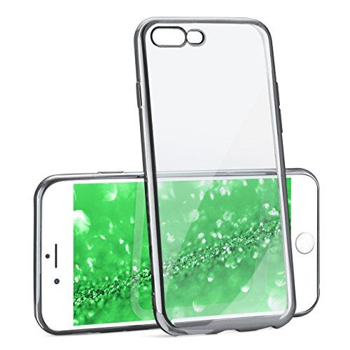 iPhone 7/8 Plus Hülle Silikon Transparent Rosé-Gold [OneFlow Chrom Back-Cover] Silikonhülle Dünn Schutzhülle Handyhülle für iPhone 7/8 + Plus Case Ultra-Slim Tasche TPU PLATIN-SILVER
