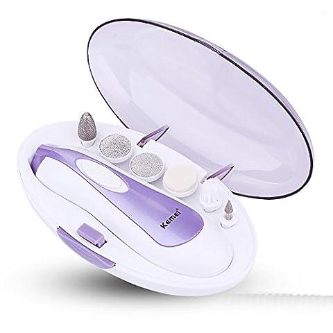 6 in 1 Maniküre Pediküre Set Elektrische Nagelfeile mit LED Licht und Aufbewahrungsbox (lila)