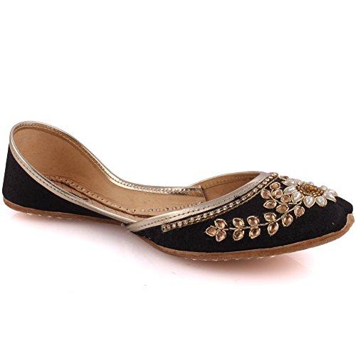 Unze Neue Frauen Traditional 'Charoite' Handgefertigte verschönert Leder flache indische Khussa Pumpe Hausschuhe Schuhe Größe 3-8 - UN-19 Schwarz
