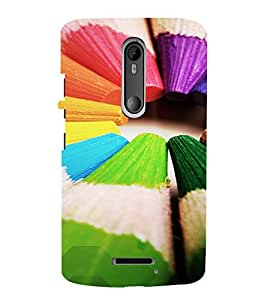 PrintVisa Colorful Pencil Design 3D Hard Polycarbonate Designer Back Case Cover for Motorola Moto X3