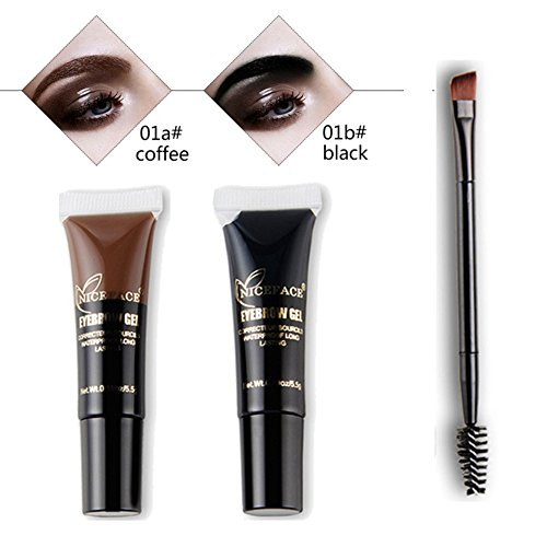 OYOTRIC 24 Hour Waterproof not Fade Eyebrow Tint Kit With Double-ended Brush Long Lasting Eyebrow Cream Black Brown Eyebrow Pencil Eyebrow Makeup Gel Cosmetic (Double Ended Mascara)