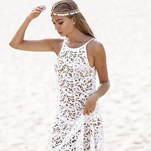 Wujiaba Frauen Sommer Maxi Kleid Weibliche Backless Bohemian Hippie Langes Weißes Kleid Aushöhlen Spitzenkleid,XL