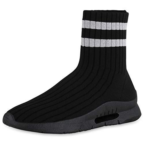 SCARPE VITA Damen Sportschuhe Slip Ons Strick Schuhe Sock Sneaker Fitness Sockenschuhe Bequeme Profilsohle 183043 Schwarz Silber Glitzer 39