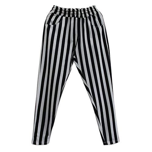 CAOQAO Pantaloncini da Uomo Pantaloncini Jeans/da Uomo Casual Moda a Mezza Vita Stampa A Righe Cinghia a Marsupio Leggero Pantaloni Traspiranti/Nero/M-XL