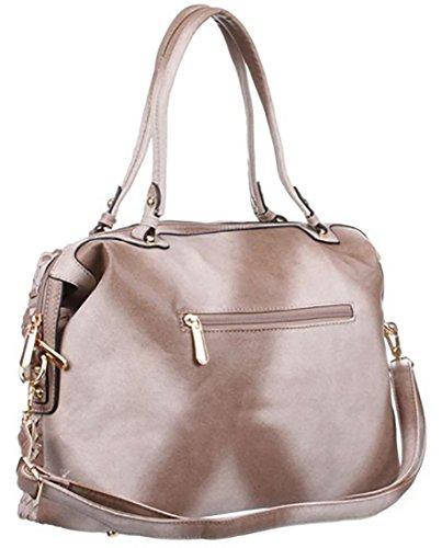Borsa donna simil pelle borsa tracolla ecopelle borsa lavorazione intrecciata borsa manici similpelle,cm 41 x cm 27 beige