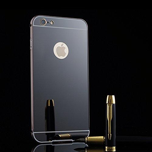 iPhone 7 4.7 Spiegel Hülle,BtDuck Ultra Dünn Luxury Aluminum Überzug Metal Mirror PC Back Case Schutzhülle Slim Telefon-Kasten Handyhülle Mirror Spiegelnd Make Up Stoßdämpfend Protective Case Cover Bu Schwarz