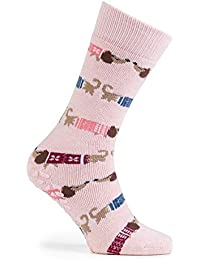 Totes Womens Pack Of 2 Red 'Gingerbread' Slipper Socks