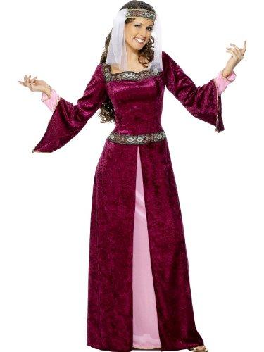 Burgund, mit Kleid und Kopfschmuck, Größe:XL (Maid Marian Kostüm)