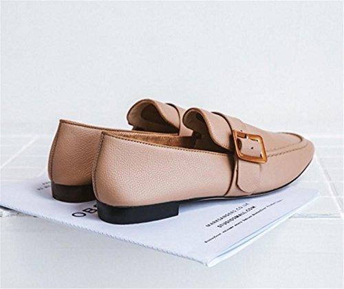 Scarpe da donna vera pelle Retro Fibbia della cintura Punta Quadrata mocassini Suola morbida Dimensioni ufficio 36To39 apricot