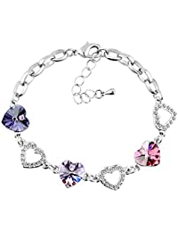 Le Premium® Kleeblatt Kristall Charme Armbänder herzförmigen Swarovski Tansanit lila, violett,und Rosa kristalle