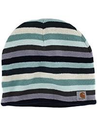Carhartt Striped Knit Beanie - Deep Blue Womens Warm Winter Ski Hat CHWA002482