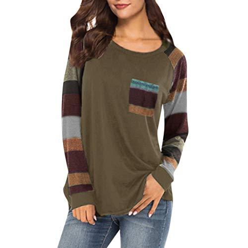 B-commerce Frauen Streifen langes Hemd - beiläufige Ärmel -