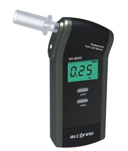 Alkoholtester Trendmedic Alcofind DA-8000 | mobiles digitales Atem-Alkoholmessgerät mit langzeitstabilen Fuel-Cell-Sensor bis 5.00‰ | polizeigenau | inkl. 25 Zusatzmundstücken