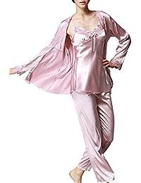 2440ad39a0f4f Damen Klassische Spitze Seide Pyjama 3 Piece Set Sleepwear Homewear  Schlafanzug