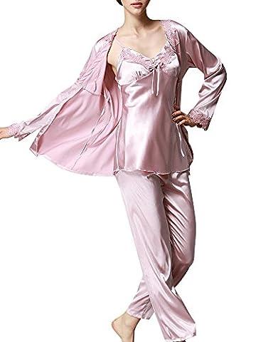 Femme Pyjamas Set De Pyjama Satin 3-In-1 Pyjama Manche Longue Pantalon Pink XL