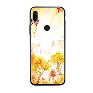 Oihxse Compatible for Xiaomi Mi 8SE Case Glass with Design, Slim Fit Tempered Glass Back Fashion Pattern [Anti-Yellow] [Non-Fade] Cover Shockproof TPU Bumper Skin Shell for Xiaomi Mi 8SE-Yellow3   9