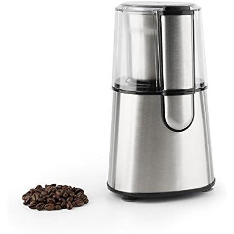 Klarstein Speedpresso Molinillo de café (200W potencia, lámina trituradora de acero, capacidad 65g granos de café molido, base con ventosa) - plata