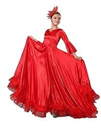 Jian E Ropa de Baile Apertura Baile España Gran Swing Trajes de Falda  Bullfighting Baile Falda Performance Ropa Rojo Manga Larga - (Color… c4532a942f12