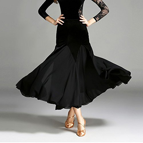 Xueyanwei Lady Classic Modern Dance Kleid Ballroom Dance Big Swing Rock Dance Wettbewerb Leistung Kostüm,Black,S