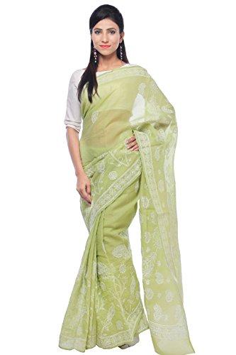 Bds Chikan Cotton Saree (Bds00395_Pista Green)