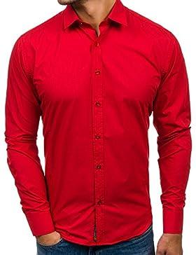 BOLF Camicia – Manica lunga – Con bottoni – Colletto francese – Elegante – Da uomo – 2B2