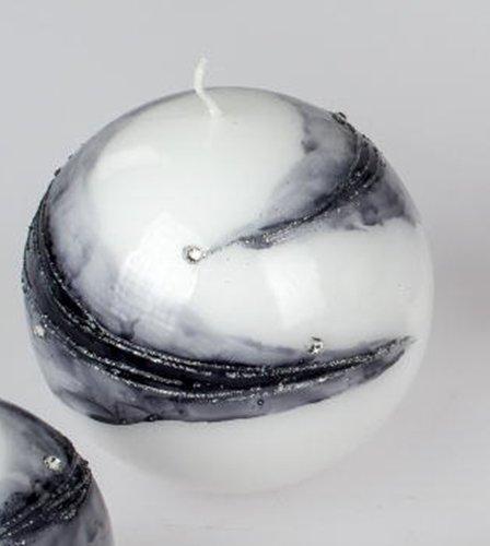 formano Kugelkerze Komet weiß silber, 6 cm
