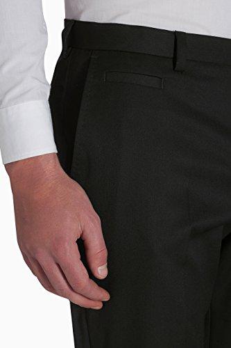 next Uomo Pantaloni Piatti Sul Davanti In Misto Lana Vestibilità Regular Nero