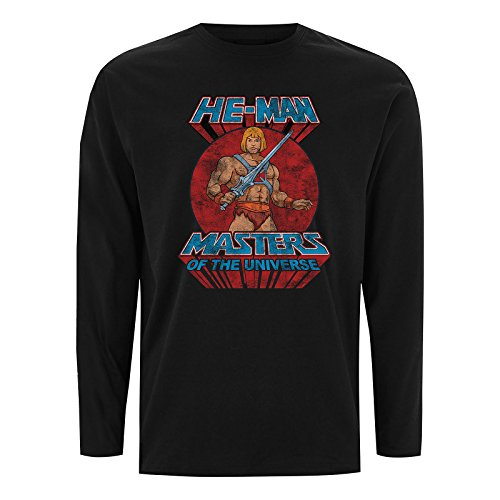 Masters of the Universe Sweater He-Man Pose Distressed Print Black