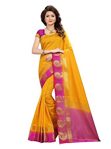 Viva N Diva Saree For Women's Yellow Color Silk Jacquard Saree With...